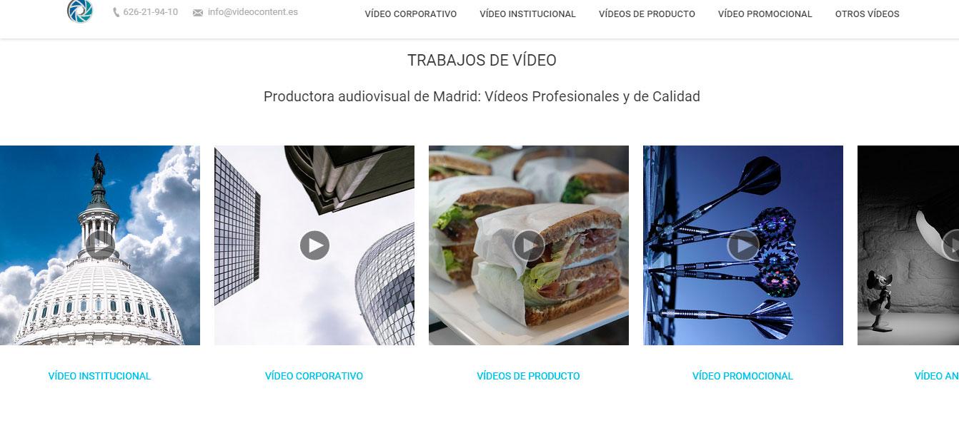Diseño y desarrollo de nuestra nueva web | Videocontent Tu vídeo desde 350€ | carousel videocontent | marketing-online
