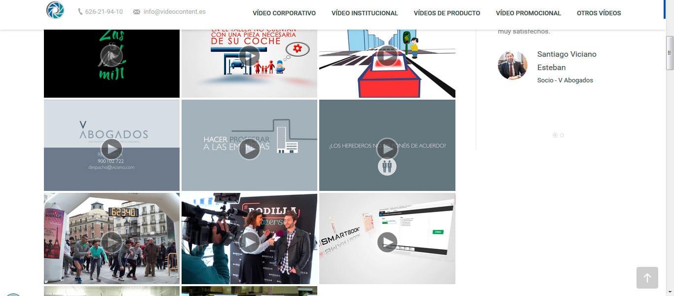 Diseño y desarrollo de nuestra nueva web | Videocontent Tu vídeo desde 350€ | portfolio videocontent | marketing-online